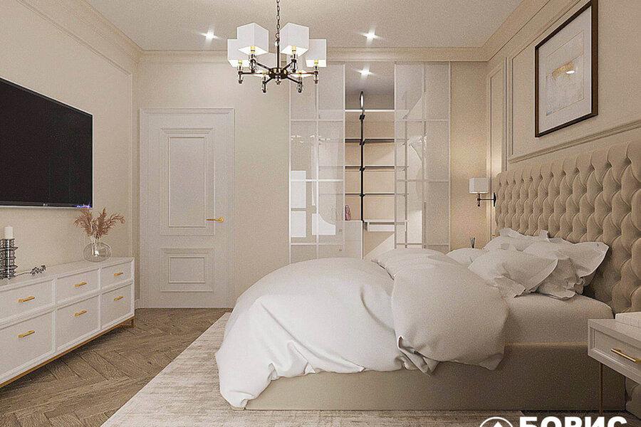 Дизайн-проект квартиры ЖК «Немецкий проект», спальня вид слева
