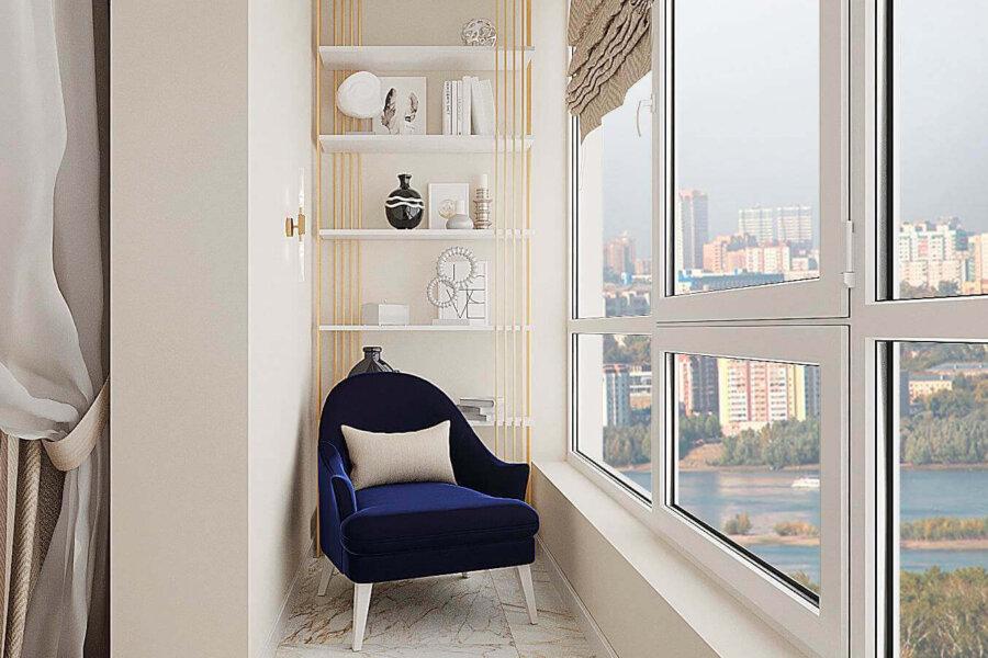 Дизайн-проект квартиры ЖК «Немецкий проект», балкон вид слева