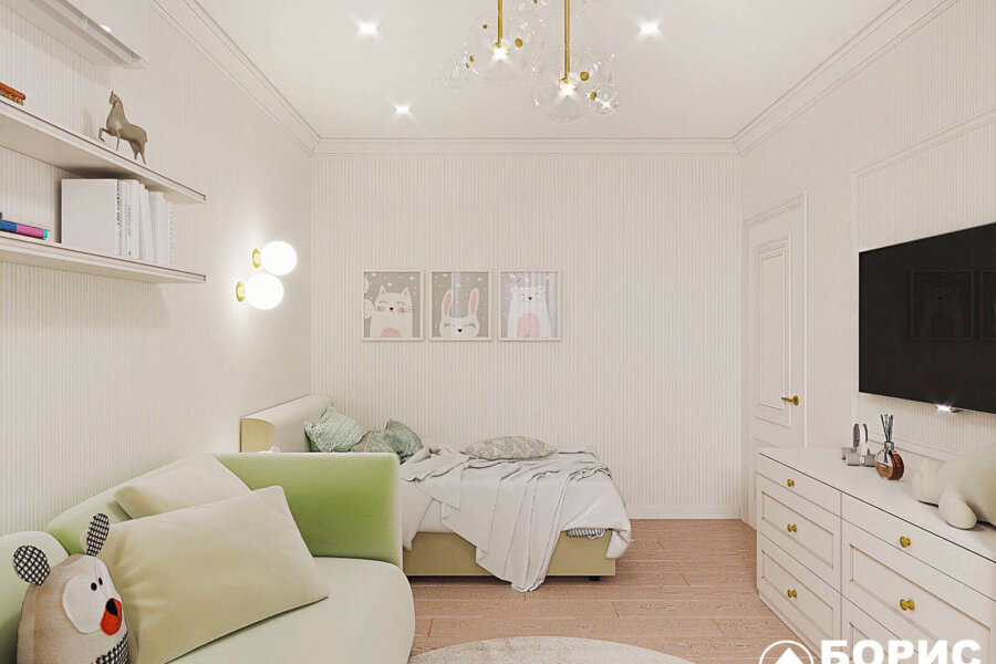 Дизайн-проект квартиры ЖК «Немецкий проект», детская вид справа