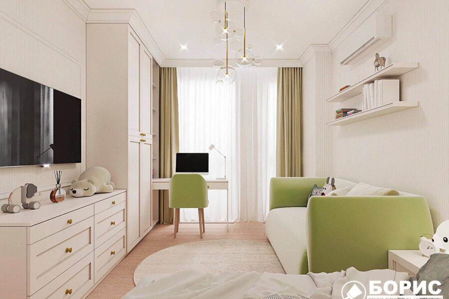 Дизайн-проект квартиры ЖК «Немецкий проект», детская вид слева