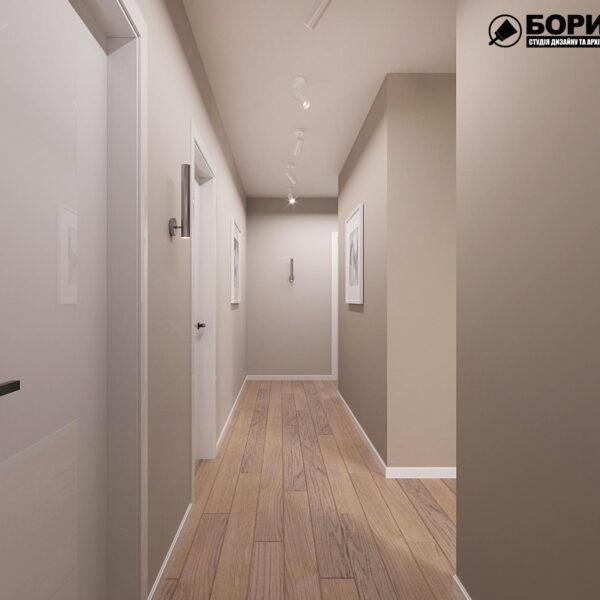 """Дизайн-проект ЖК """"Пролисок"""", коридор вид спереди"""