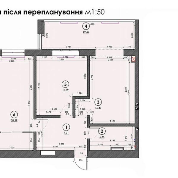 """Дизайн інтер'єру квартири ЖК """"Софія"""", план перепланування"""