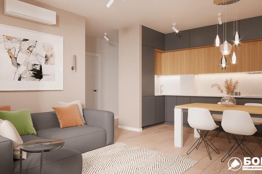Дизайн-проект ЖК «Пролисок», гостиная вид сбоку фото №1