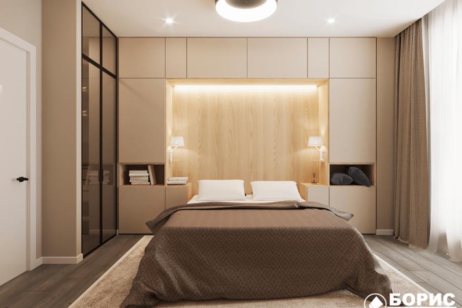 Дизайн-проект ЖК «Пролисок», спальня вид спереди