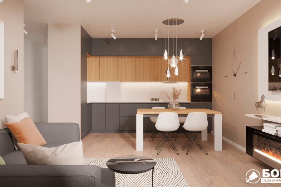 Дизайн-проект ЖК «Пролисок», кухня вид спереди