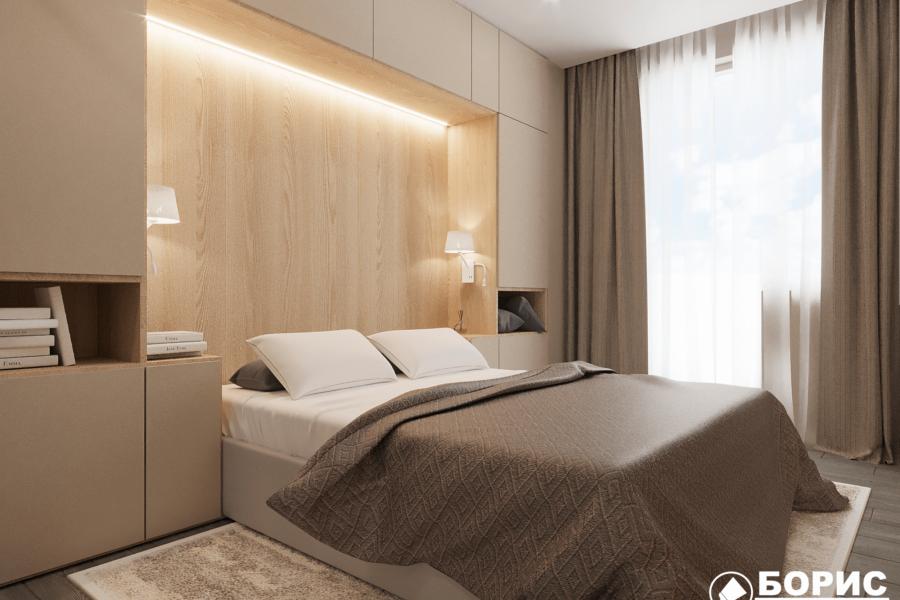Дизайн-проект ЖК «Пролисок» спальня вид сбоку