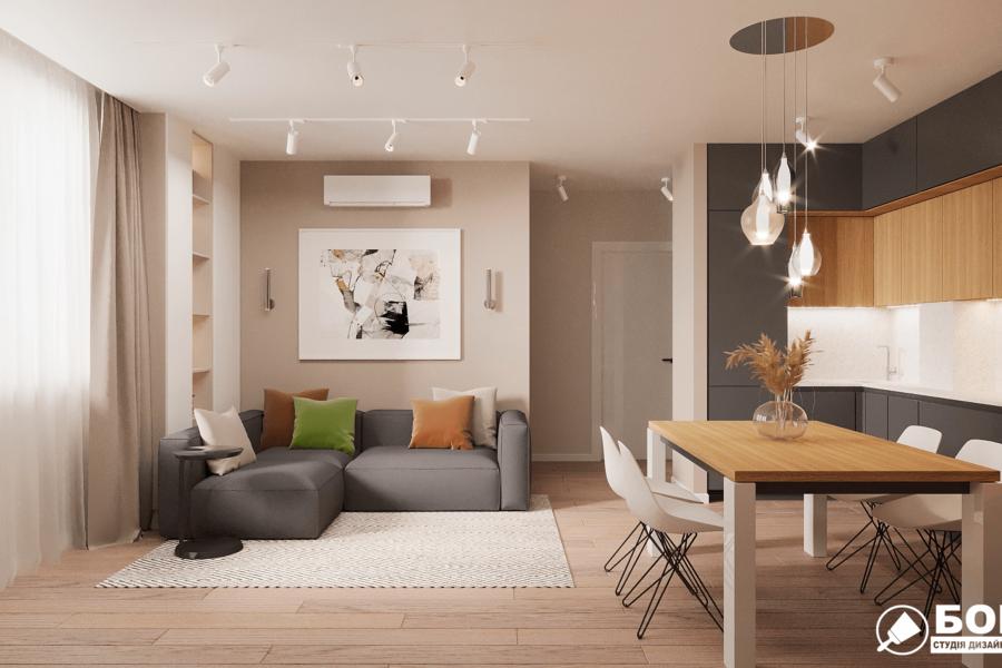 Дизайн-проект ЖК «Пролисок», гостиная вид сзади