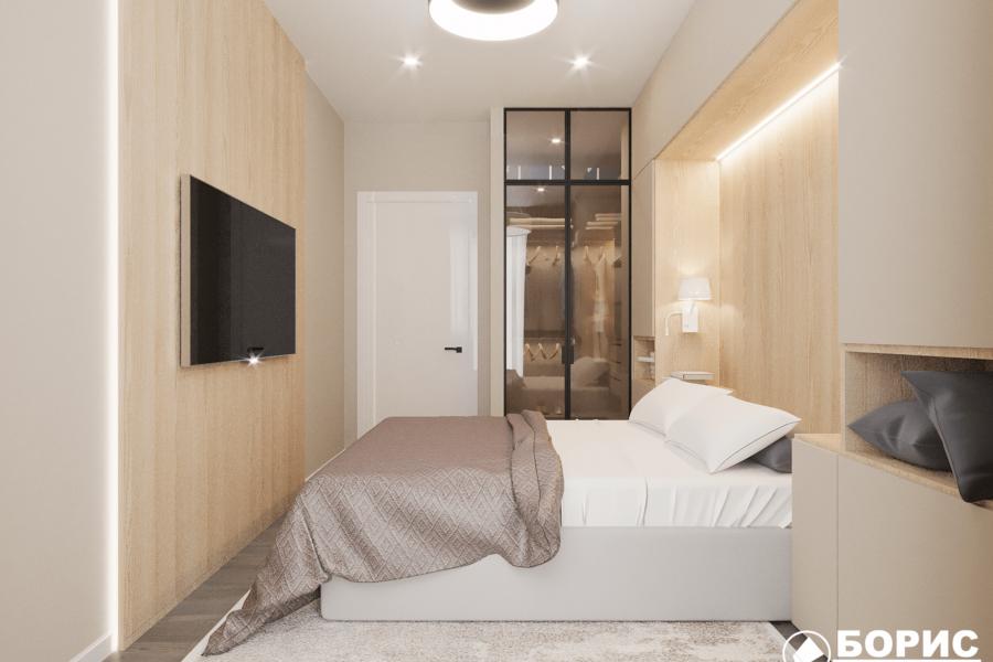 Дизайн-проект ЖК «Пролисок», спальня вид слева