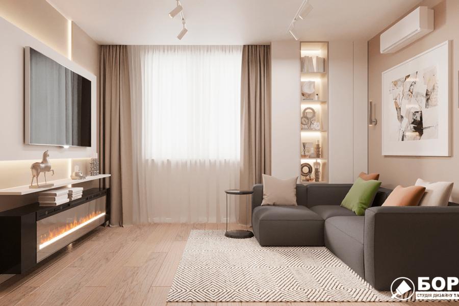 Дизайн-проект ЖК «Пролисок» гостиная вид справа