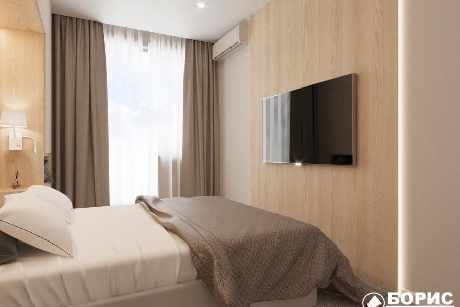 Дизайн-проект ЖК «Пролисок». спальня вид справа