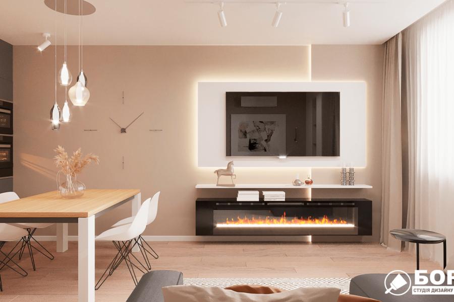 Дизайн-проект ЖК «Пролисок», гостиная вид спереди