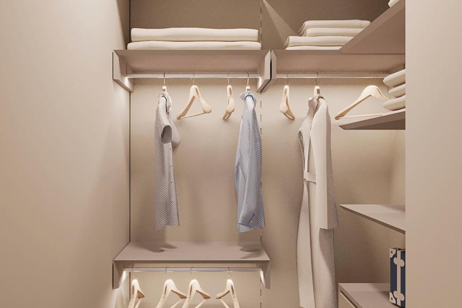 Дизайн-проект ЖК «Пролисок». гардеробная вид спереди