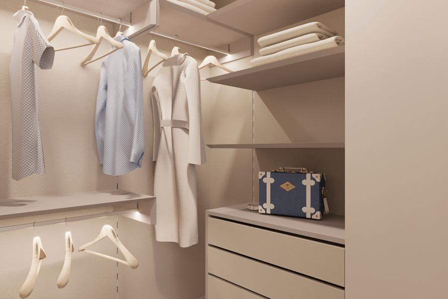 Дизайн-проект ЖК «Пролисок», гардеробная вид сбоку