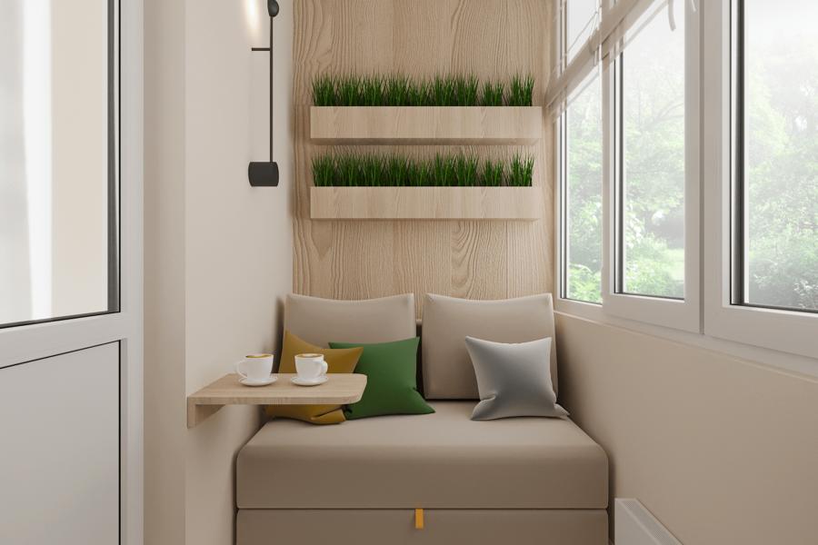 Дизайн-проект ЖК «Пролисок», балкон вид слева