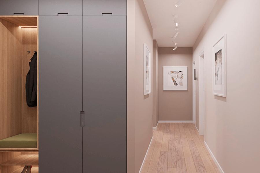 Дизайн-проект ЖК «Пролисок», коридор фото №2