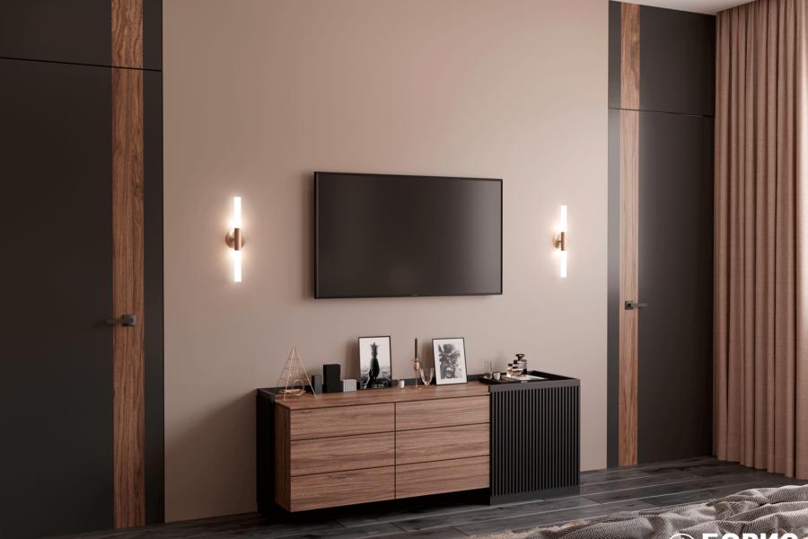 Дизайн-проект двухэтажной квартиры ЖК «Клеменова Дача». спальня №3 вид сзади №1