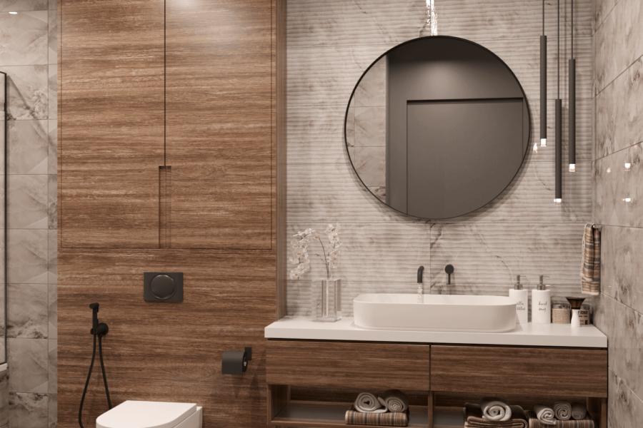 Дизайн-проект двухэтажной квартиры ЖК «Клеменова Дача», санузел №2 вид спереди