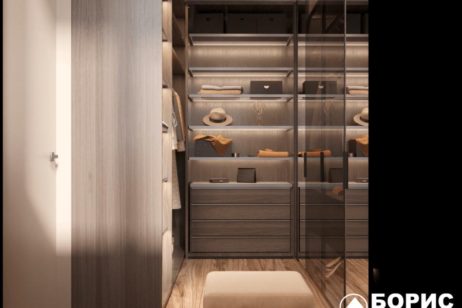 Дизайн-проект двухэтажной квартиры ЖК «Клеменова Дача», гардеробная вид слева