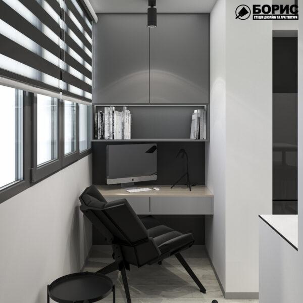 """Дизайн-проект однокімнатної квартири ЖК """"Пташка"""", лоджія вид справа"""