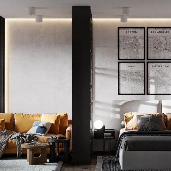 """Дизайн-проект однокомнатной квартиры ЖК """"Архитекторов"""", спальня вид спереди"""