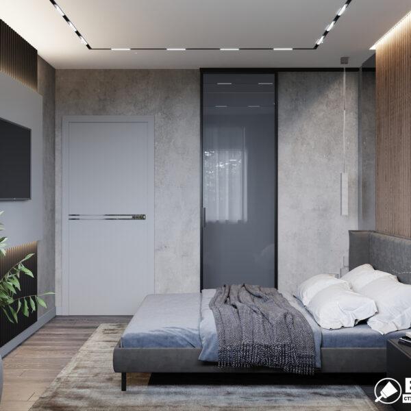 Дизайн интерьера двухкомнатной квартиры в ЖК «Архитекторов», спальня фото с правой стороны