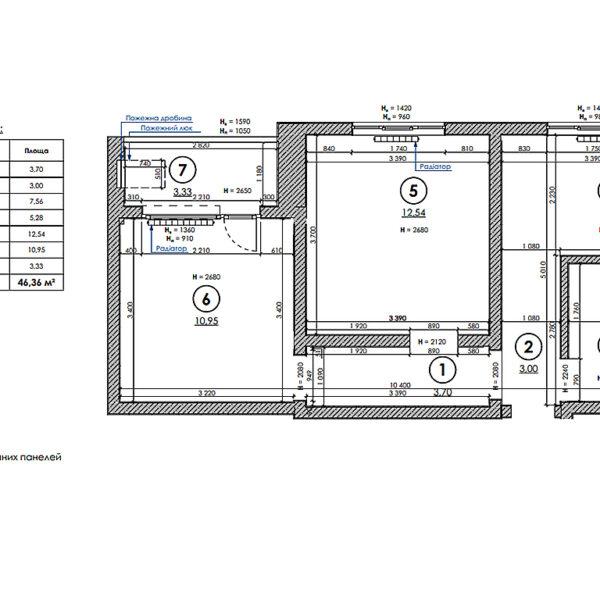 """Дизайн-проект інтер'єра квартири у ЖК """"Металіст"""", план обмірочний"""