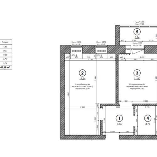 """Дизайн-проекту інтер'єру однокімнатної квартири ЖК """"Левада 2"""", план обмірний"""