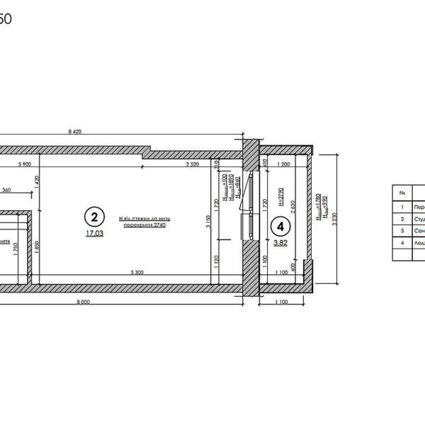 Дизайн интерьера квартиры-студии, план обмерный