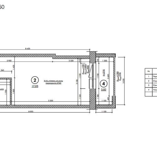 Дизайн інтер'єру квартири-студії, план обмірний