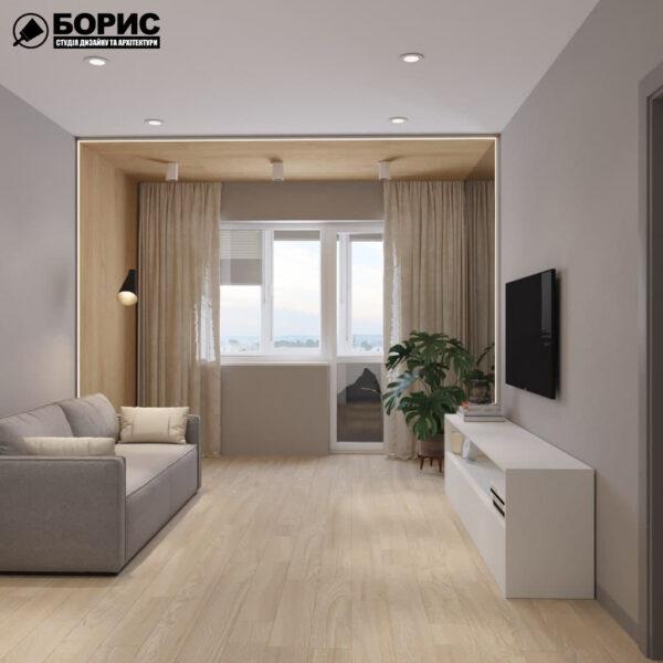Дизайн-проект трикімнатної квартири за адресою: вул. Клочківська, 201-а, вітальня вид справа