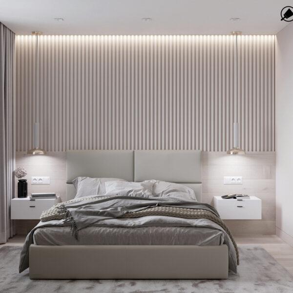 """Дизайн-проект однокімнатної квартири ЖК """"Райдужний"""", спальня вид спереду"""