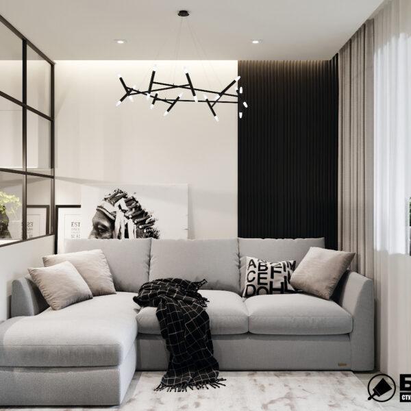 """Дизайн-проект двухкомнатной квартиры ЖК """"Дуэт"""", гостиная вид спереди"""