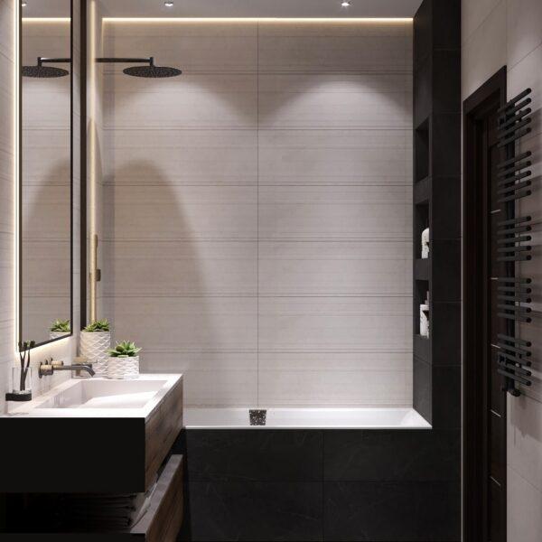 """Дизайн-проект однокімнатної квартири ЖК """"Архітекторів"""", санвузол вид справа"""