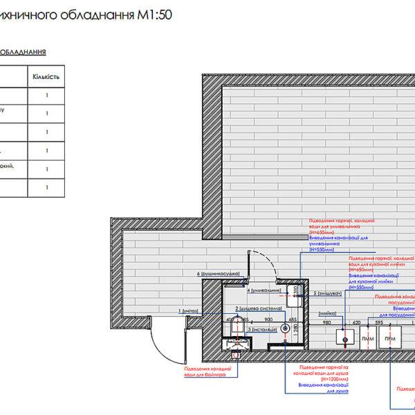 """Дизайн-проект інтер'єра квартири ЖК """"Московський"""", план сантехнічного обладнання"""
