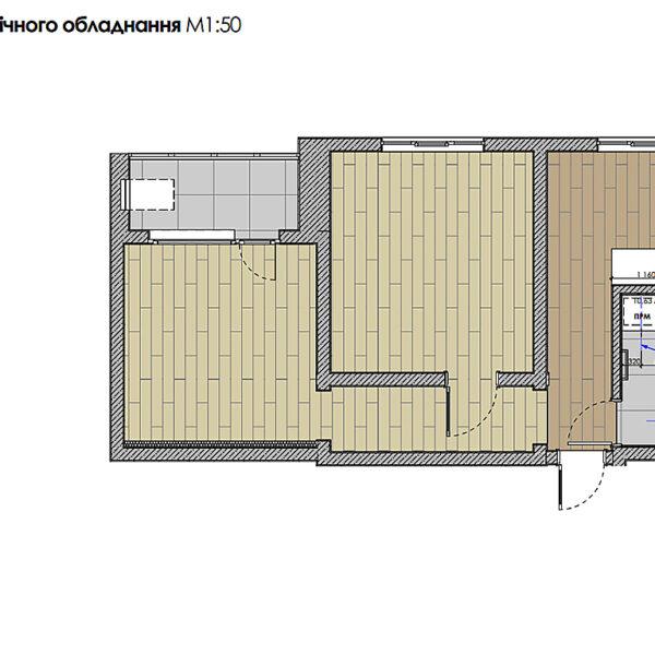 """Дизайн-проект інтер'єра квартири у ЖК """"Металіст"""", план сантехнічного обладнання"""