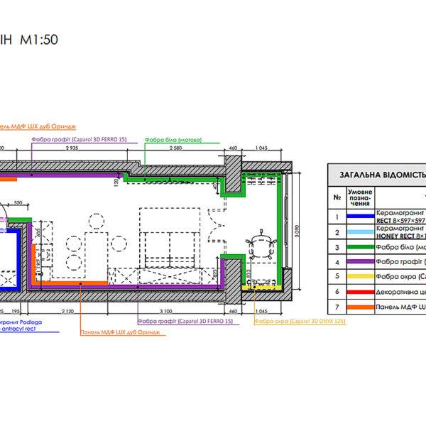 Дизайн интерьера квартиры-студии, план отделки стен