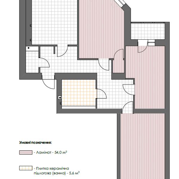 """Дизайн-проект трикімнатної квартири ЖК """"Сокольники"""", креслення покриття підлоги"""