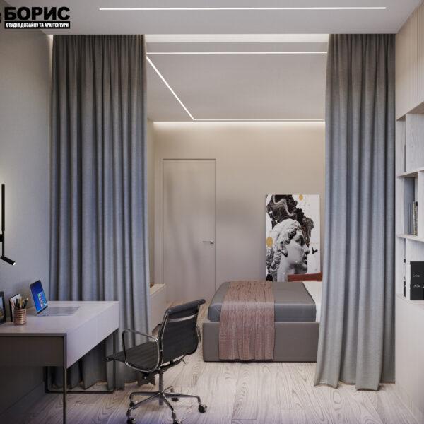 "Дизайн-проект трикімнатної квартири ЖК ""Сокольники"", спальня"
