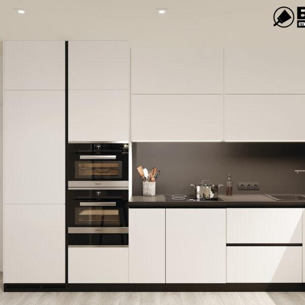 """Дизайн-проект двухкомнатной квартиры ЖК """"Дуэт"""", кухня вид спереди"""
