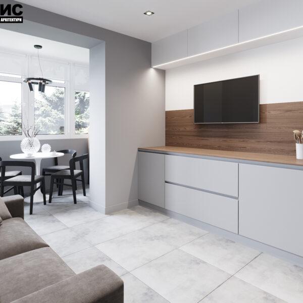 Дизайн интерьера двухкомнатной квартиры в ЖК «Архитекторов», кухня под углом с видом на балкон
