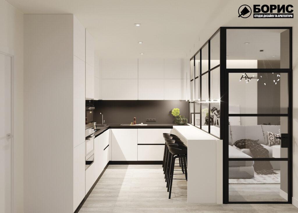 """Дизайн-проект двухкомнатной квартиры ЖК """"Дуэт"""", кухня вид справа"""