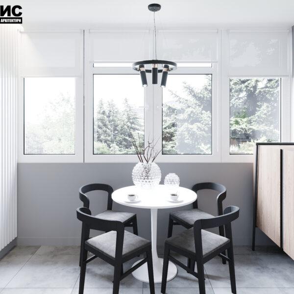 Дизайн интерьера двухкомнатной квартиры в ЖК «Архитекторов», кухня фото балкона