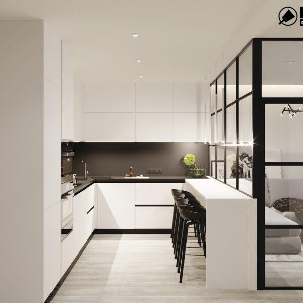 "Дизайн-проект двокімнатної квартири ЖК ""Дует"", кухня вид справа"