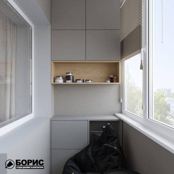 Дизайн-проект трехкомнатной квартиры по адресу: ул. Клочковская, 201-а, балкон вид слева