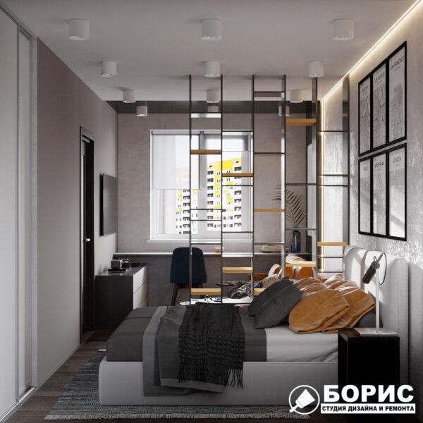 """Дизайн-проект однокомнатной квартиры ЖК """"Архитекторов"""", спальня вид сбоку"""