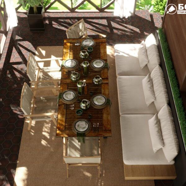 Дизайн-проект частного дома, терраса вид сверху