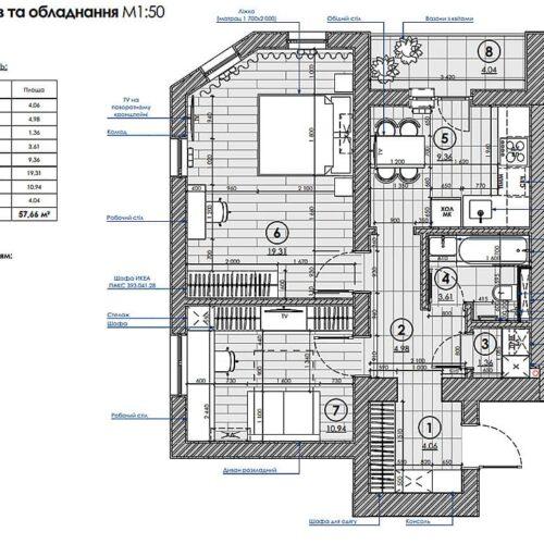 Дизайн-проект інтер'єру квартири «ЖК Левада 2», план розміщення меблів і техніки