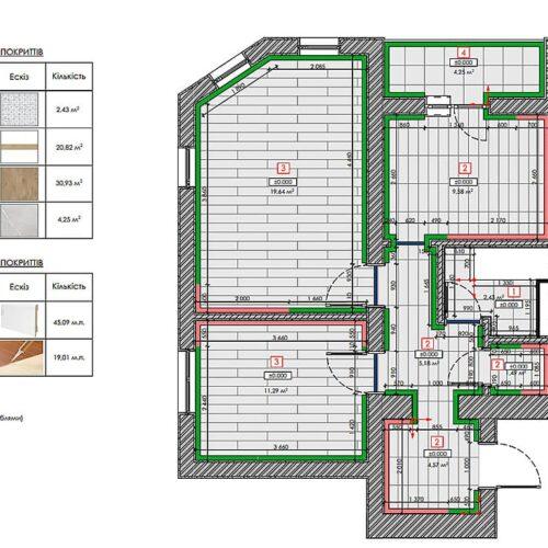 Дизайн-проект интерьера квартиры «ЖК Левада 2», план пола