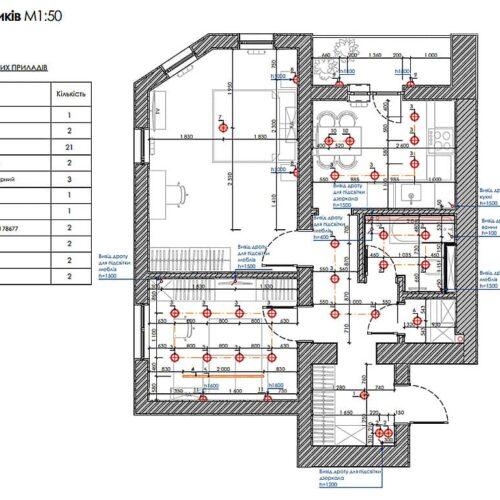 Дизайн-проект интерьера квартиры «ЖК Левада 2», план размещения светильников