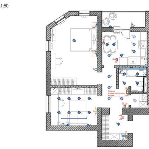 Дизайн-проект інтер'єру квартири «ЖК Левада 2», план груп освітлення